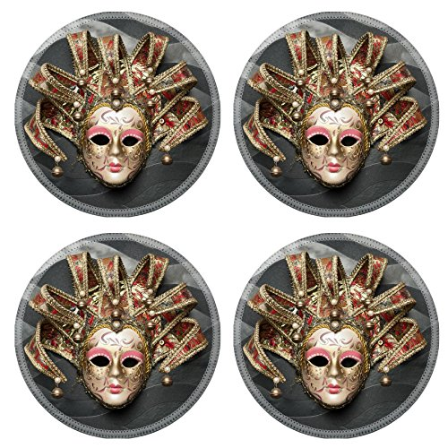 MSD Round Coasters Non-Slip Natural Rubber Desk Coasters design: 27630256 Beautiful classical mask from Venice on black wall Carnival mask Venetian tradition (Venetian Masks For Sale Wall)