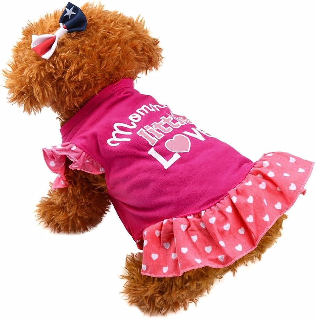 Summer Cute Pet Puppy Small Dog Cat Mommy Little Love Print Apparel Clothes Fly Sleeve Dress Howstar Pet Dress