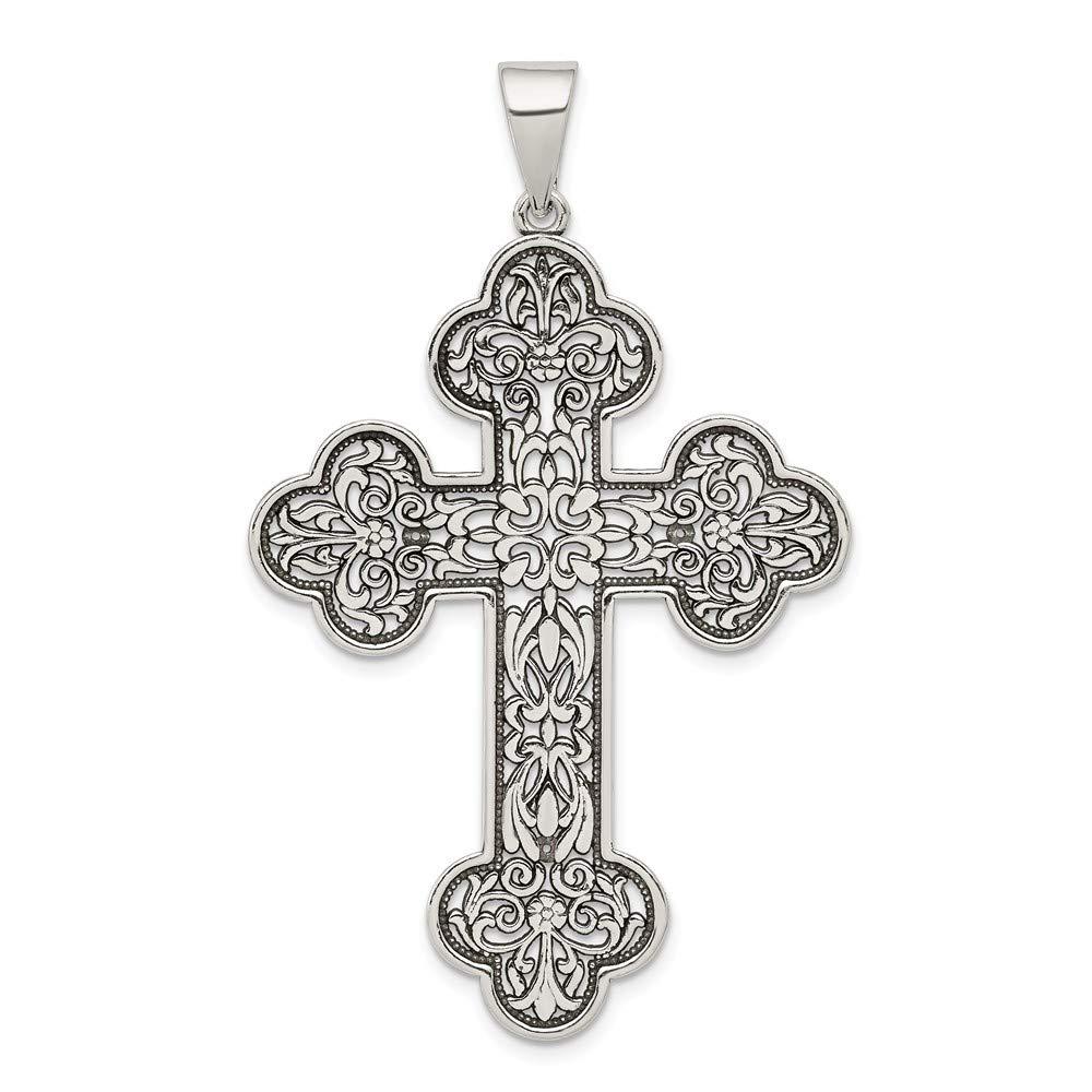 Sterling Silver Antiqued Large Filigree Cross Pendant