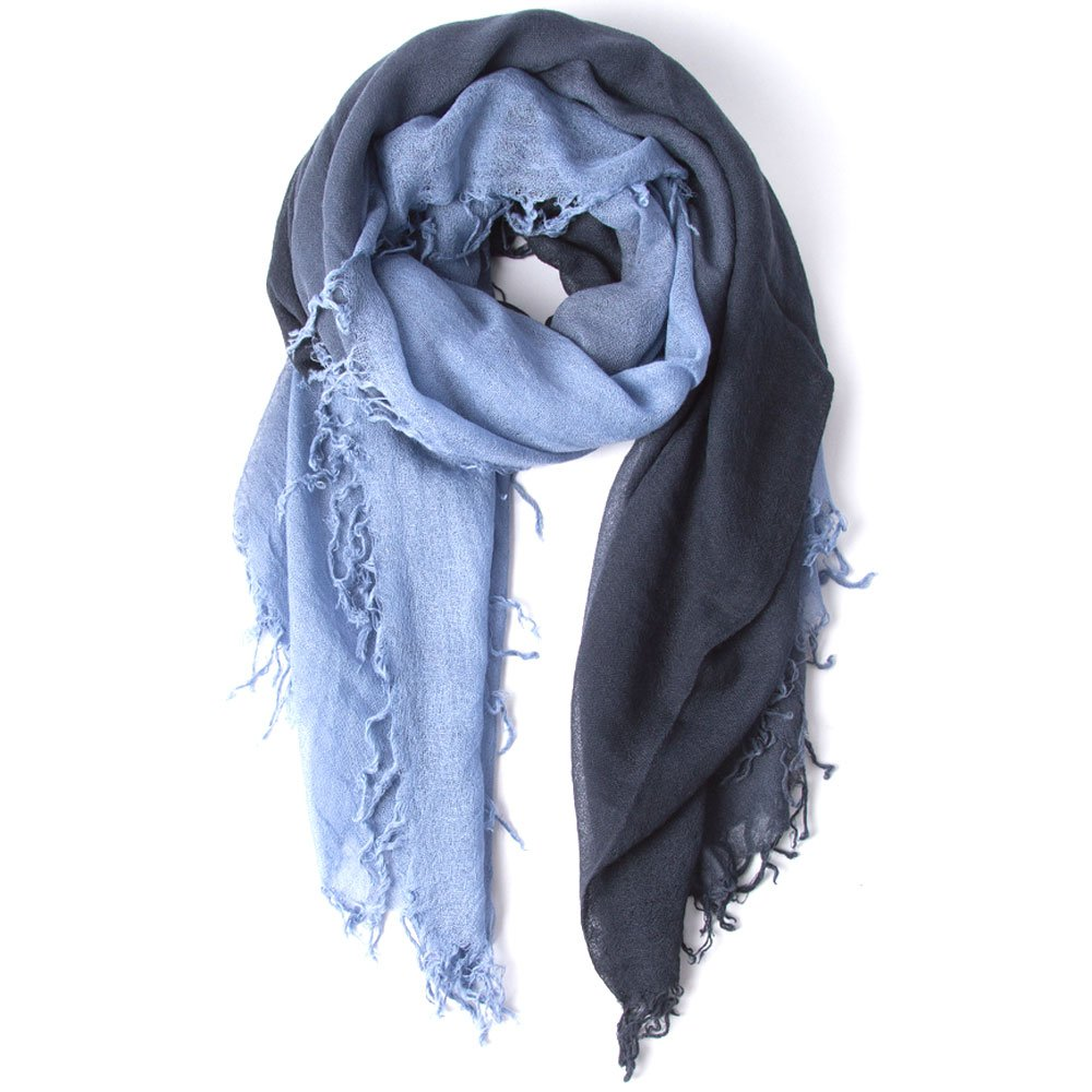 Chan Luu Dip Dyed Cashmere and Silk Scarf (Stonewash-Blue Knights)