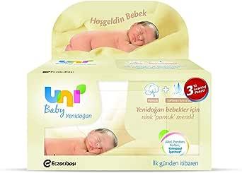 Uni Baby Yenidoğan Islak Pamuk Mendil, 3'lü