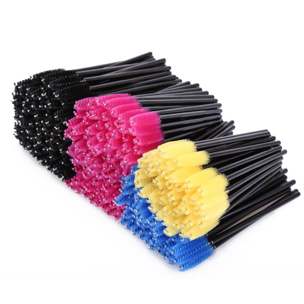 KEDSUM 300pcs Disposable Mascara Brushes,Bendable Mascara Wands with Soft Hair,Eye Lash Brushes/Eyebrow Applicator with 4 Colors,Cosmetic Makeup Brush Kit