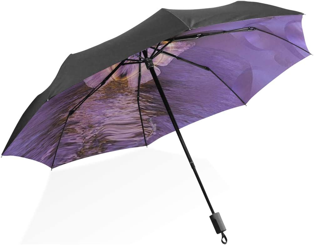 Outdoor Rain Umbrella Fractal Reflection Graphic Water Nature Butterfly Portable Compact Folding Umbrella Anti Uv Protection Windproof Outdoor Travel Women Umbrella Girls