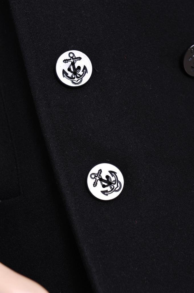 Seibertron Men's Woolen Coat US Navy Type 80% Wool USN Pea Coat Black M by Seibertron