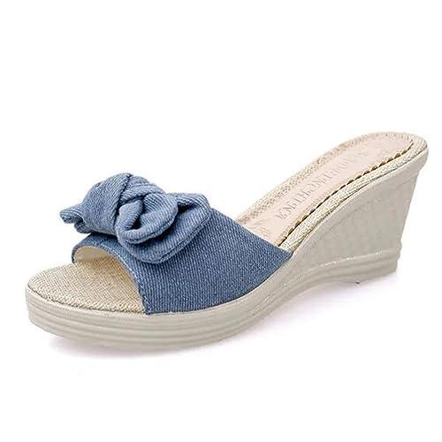 Fuibo Elegant Sandalette Damen Sommer Bogen Plattform Wasserdichte Sandalen Keil Frauen Hausschuhe  Blau