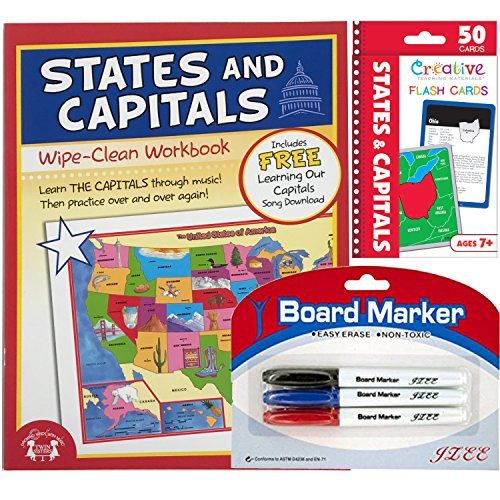 States & Capitols Flashcards with Wipe Clean States & Capitol Workbook and Red Calendar Zipper bag for easy storage