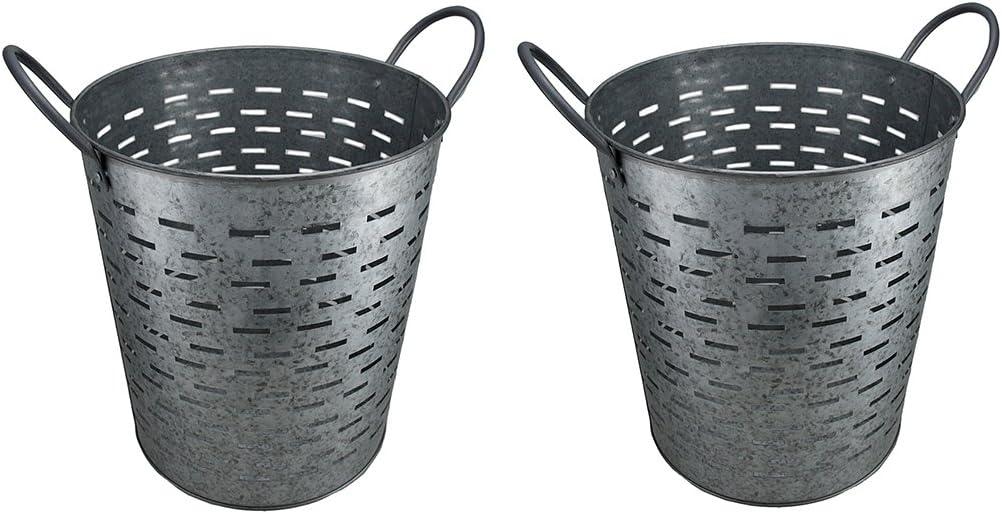 Set of 2 Galvanized Metal Olive Buckets w Built-in Handles