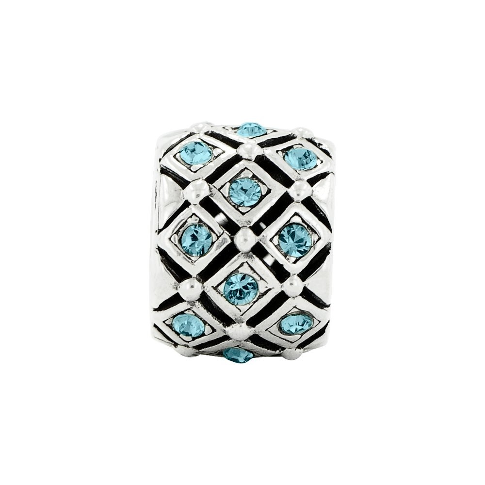 8.2mm x 10.9mm Solid 925 Sterling Silver Reflections December CZ Cubic Zirconia Swarovski Crystal Bead