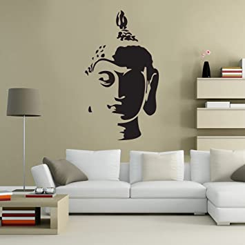 Buddha Head Statue Spiritual Decorative Lounge Living Room Hallway Bedroom  Kitchen Dining Room Wall Sticker Wall Part 19