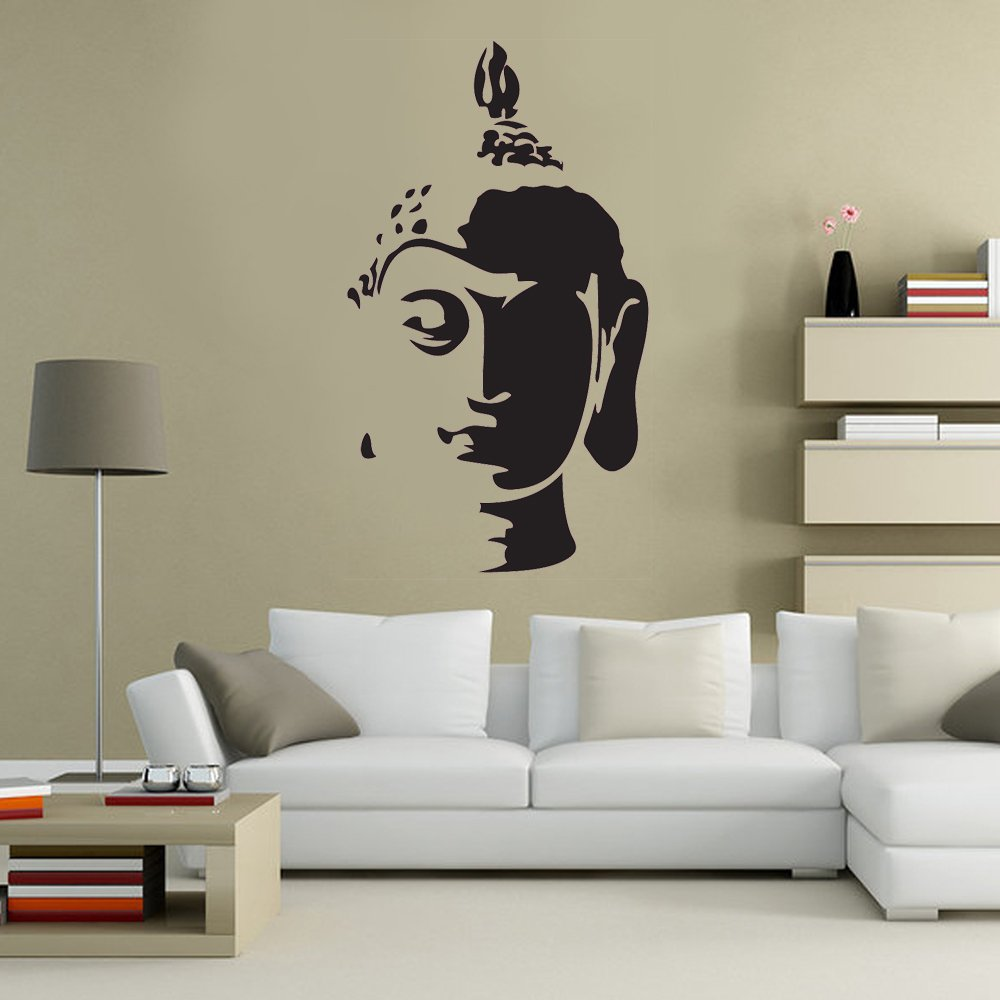 Buddha Head Statue Spiritual Decorative Lounge Living Room Hallway Bedroom  Kitchen Dining Room Wall Sticker Wall
