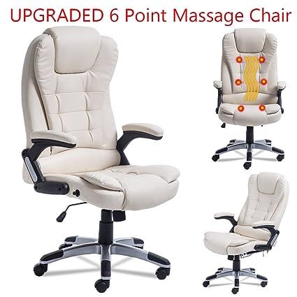 Coldcedar Ergonomic Gaming Chair Home Office Computer Desk Massage Chair  Executive Ergonomic Vibrating (white)