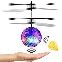 JAMSWALL RC Toy vol Ball, RC infrarouge Hélicoptère à induction Boule intégrée lumineux d'éclairage LED pour les enfants, les adolescents Flyings colorés jouets (avec télécommande)