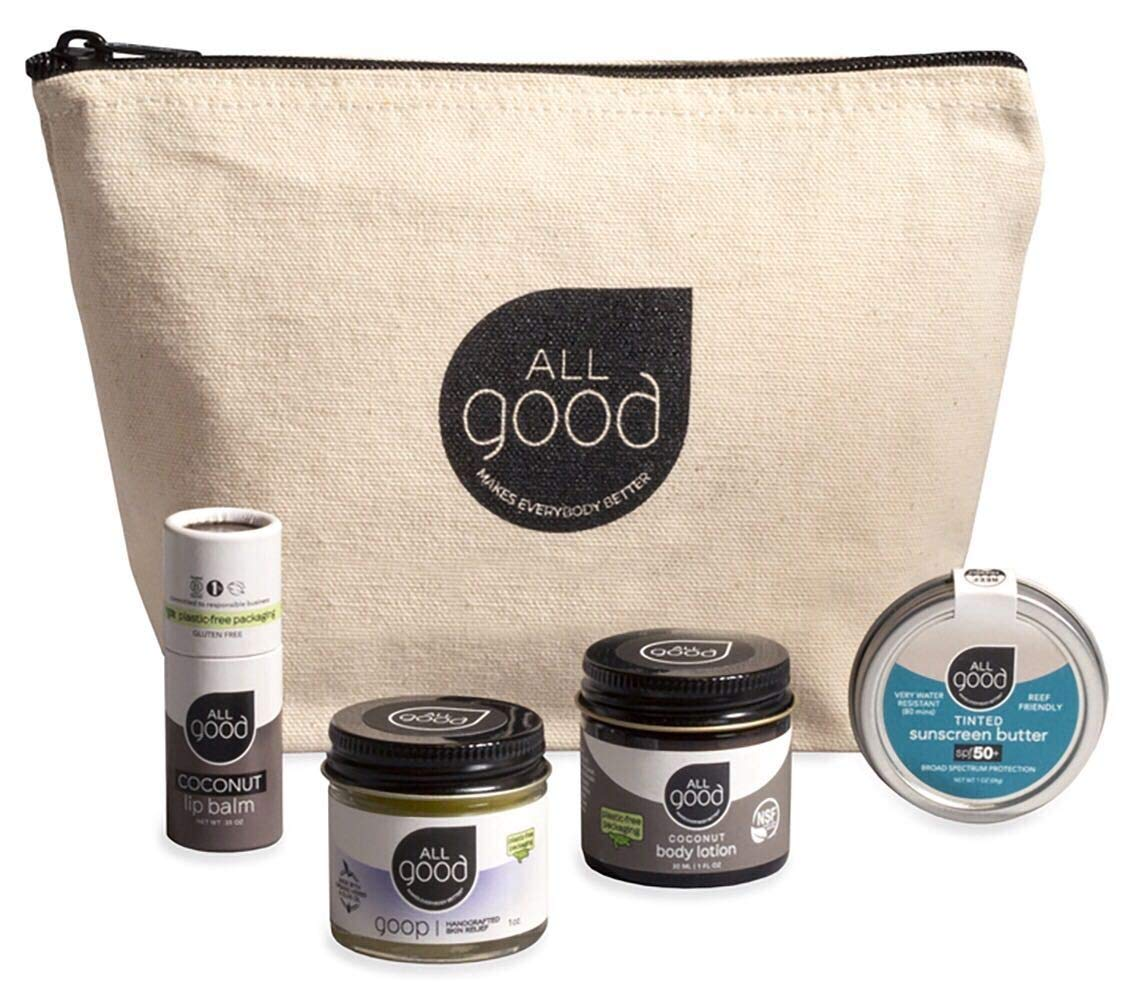 All Good Plastic-Free Skin Essentials Gift Set - 1 oz Goop, 1 oz Coconut Body Lotion, 1 oz Tinted Sunscreen Butter, Coconut Lip Balm, Re-Usable Canvas Pouch