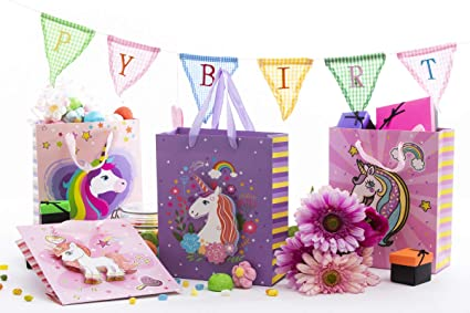 4 Pack Unicorn Kids Birthday Party Gift and Favor Bags! Decoracion De Unicornio Para Cumpleaños! For Gifts, Treats, Favors and Candy! Unique 3D ...