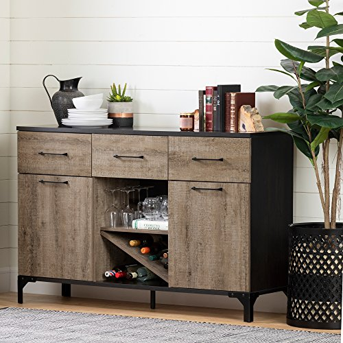 South Shore 10710 Valet Buffet with Wine Storage