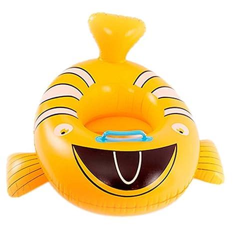Goodid flotador bebé de animales con asiento y apoyabrazos (Pez amarillo)