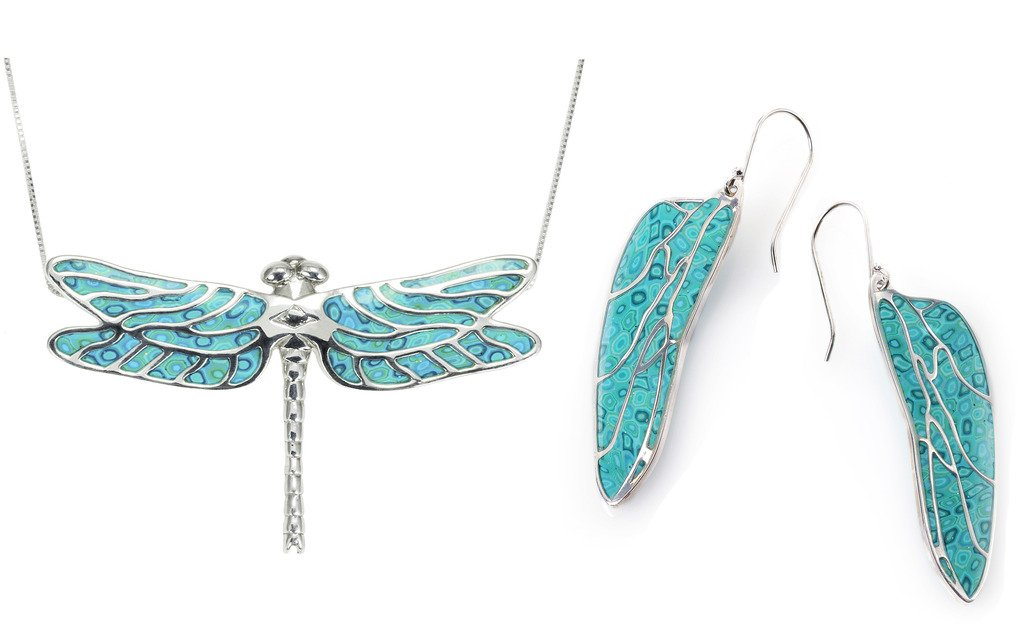 925 Sterling Silver Dragonfly Necklace and Wing Earrings Sea Green Polymer Clay Handmade Jewelry Set, 18''