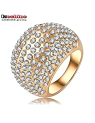 BMALL Shiny Costume Jewelry Rings 18K Gold Plated Austrian Crystal SWA Element Eggerated Ring 28*14mm Ri-HQ0248