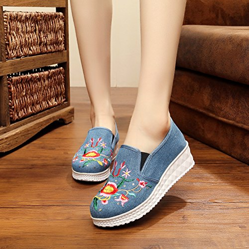 XHX Zapatos bordados, lino, lenguado, estilo étnico, hembra, moda, cómodo, fondo grueso un pedal calza denim blue