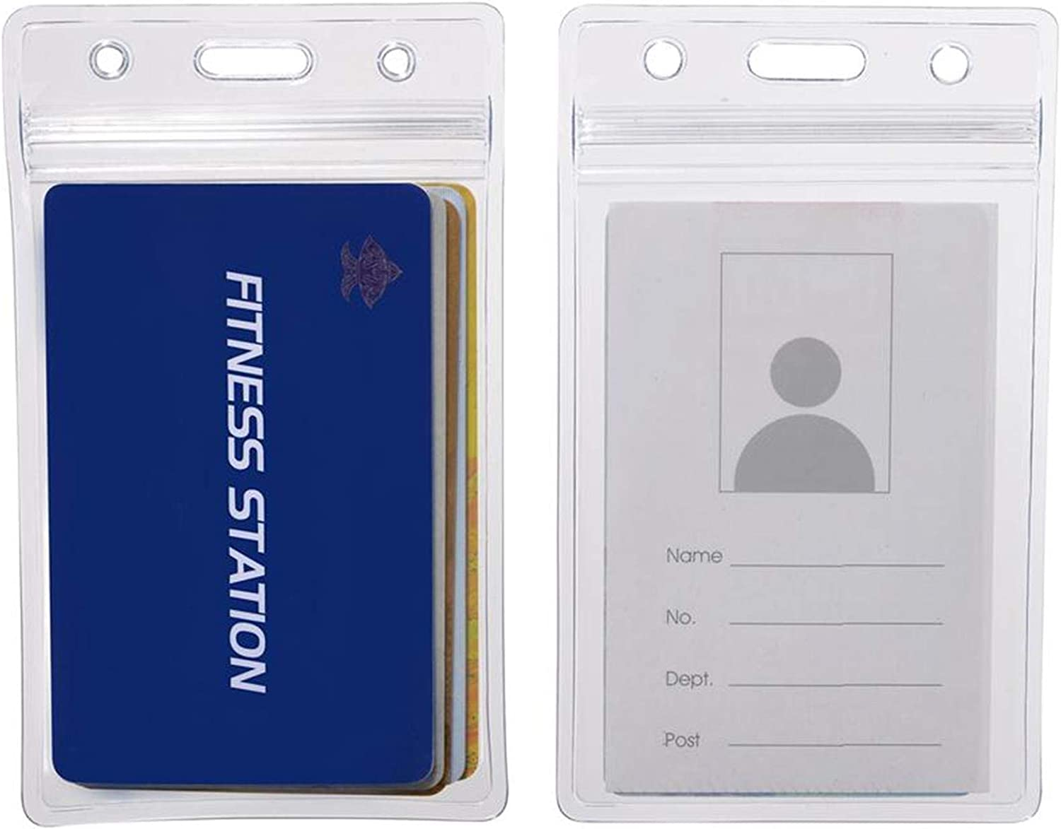 1ID Card Holder Transparent Plastic Badge Resealable Waterproof Business Case P0