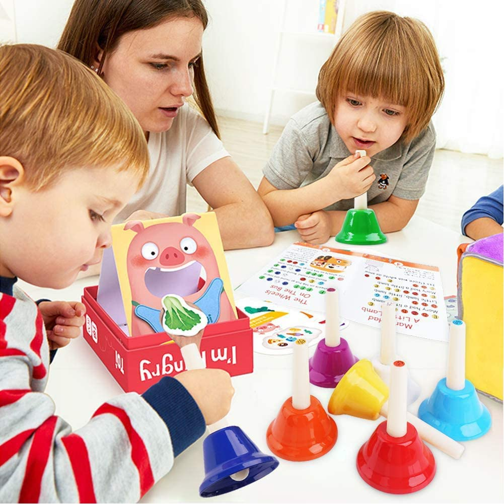 8 Note Diatonic Metal Bells Colorful Hand Bells Set,Educational Percussion Musical Instruments for Children