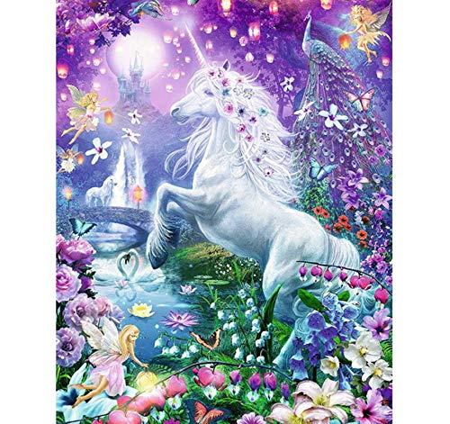 100/% Full 5D DIY Diamond Painting Flower Fairy/&Unicorn 3D Diamond Painting Round Rhinestone Diamond Painting Embroidery Animal 30x40 cm