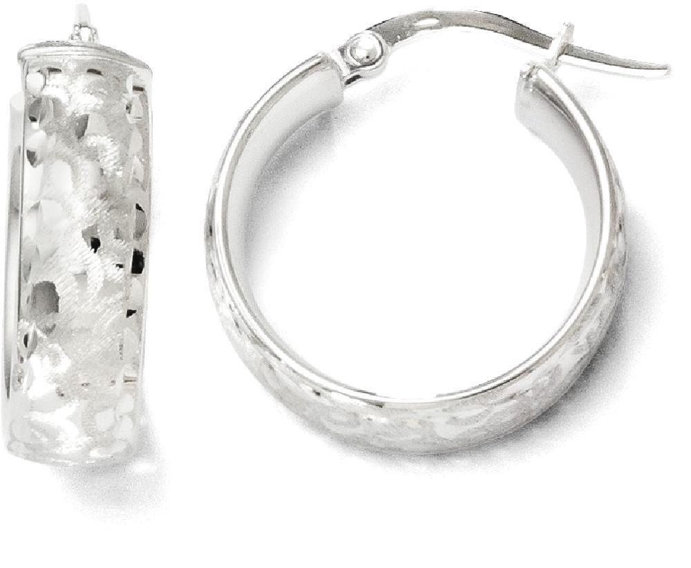 ICE CARATS 14k White Gold Hoop Earrings Ear Hoops Set Fine Jewelry Gift Set For Women Heart