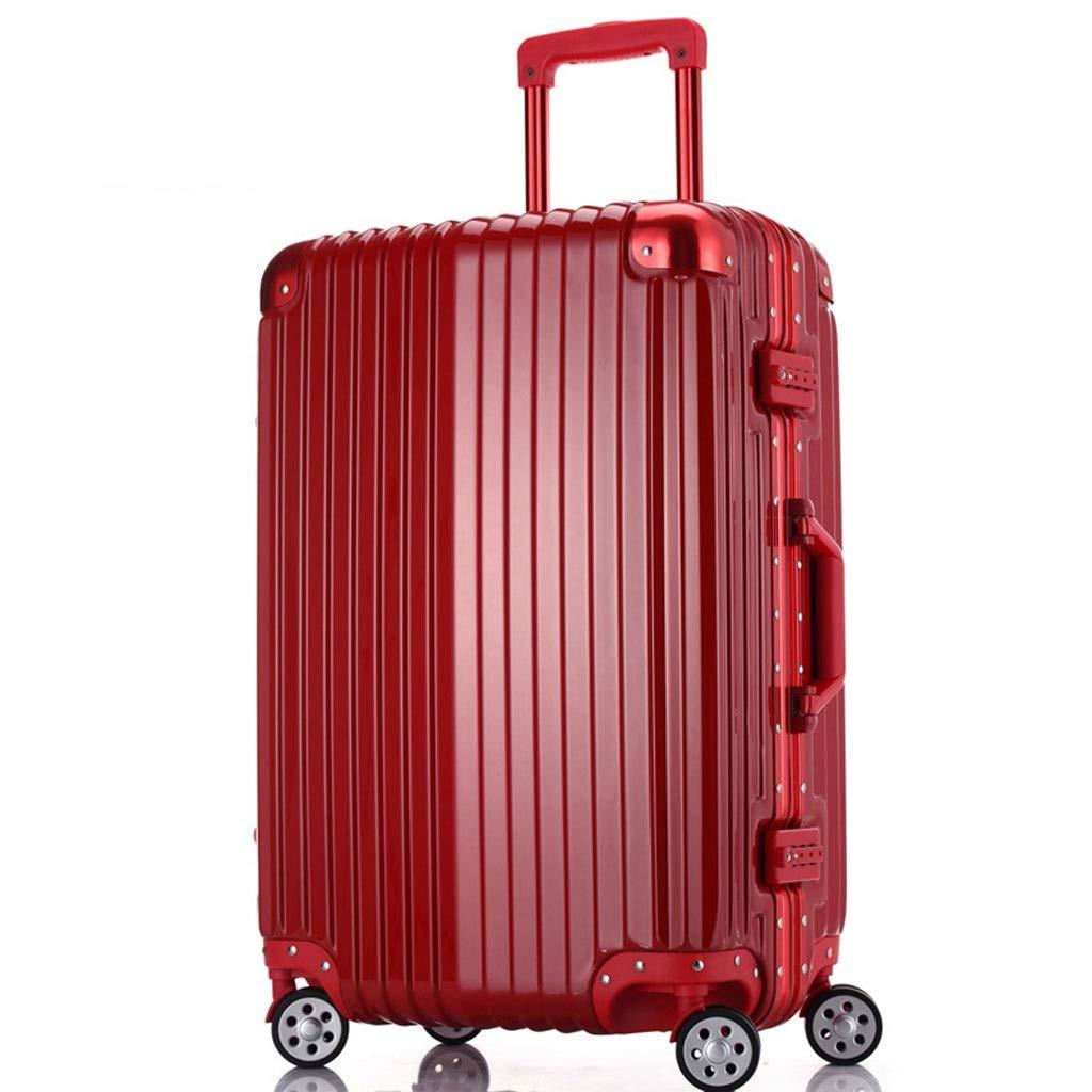 FRF トロリーケース- 学生ユニバーサルホイールアルミフレームトロリーケースパスワードボックス、男性と女性搭乗スーツケース (色 : 赤, サイズ さいず : 26in) 26in 赤 B07QQ99FML