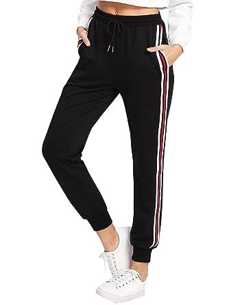 1b81d29fd9abf9 DIDK Damen Hosen Sporthose Casual Streifen Sweathose Elastischer Bund  Jogginghose mit Taschen Schwarz XS