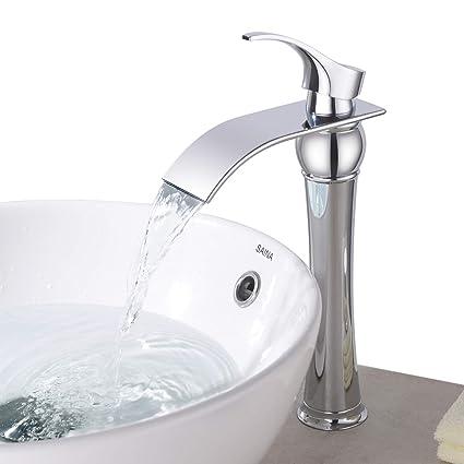 BONADE Design Monotrou Robinet Cascade Mitigeur Lavabo avec Bec Haut pour  Salle de Bain Vasque et Cuisine