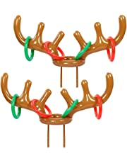Syolee 2pcs Christmas Party Inflatable Reindeer Antler Hat Ring Toss Game Toy for Family Kids Office Xmas Holiday Party Fun Games