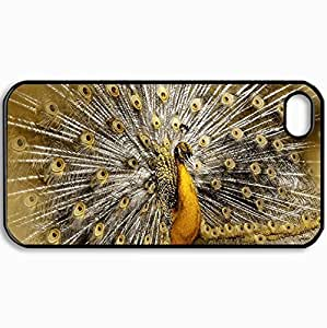 Personalized Protective Hardshell Back Hardcover For iPhone 4/4S, Golden Peacock Design In Black Case Color