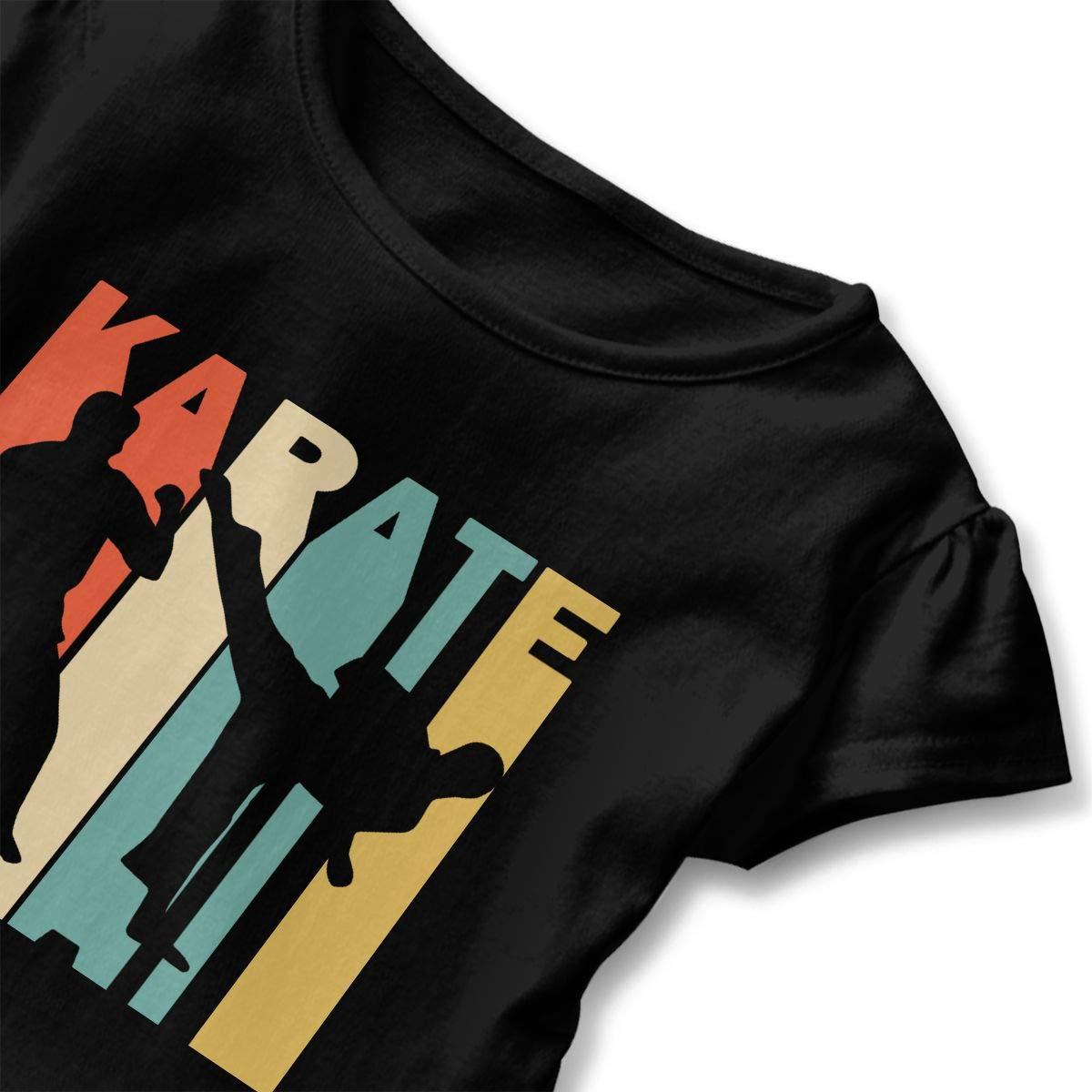 Kawaii Sweatshirt with Falbala Short-Sleeve Retro Style Karate Silhouette Shirts for Kids 2-6T