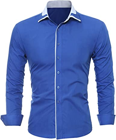 ISSHE Camisas Slim Fit Hombre Camisa Regular Fit Básica Cuello Clásico Camisas de Vestir Formal Caballero Camisas Vestidos Entalladas Casuales para Hombres Camisetas Manga Larga Modernas: Amazon.es: Ropa y accesorios