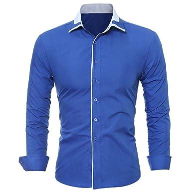 ca2aedbd5 ISSHE Camisas Slim Fit Hombre Camisa Regular Fit Básica Cuello Clásico  Camisas de Vestir Formal Caballero Camisas Vestidos Entalladas Casuales Para  Hombres ...