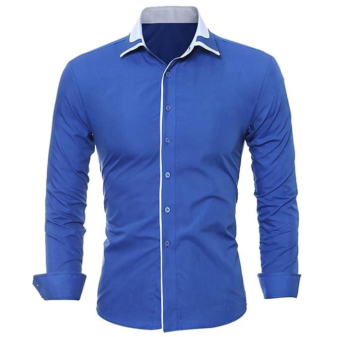 ISSHE Camisas Slim Fit Hombre Camisa Regular Fit Básica Cuello Clásico  Camisas de Vestir Formal Caballero Camisas Vestidos Entalladas Casuales  Para Hombres ... 4a69f7b77b06d