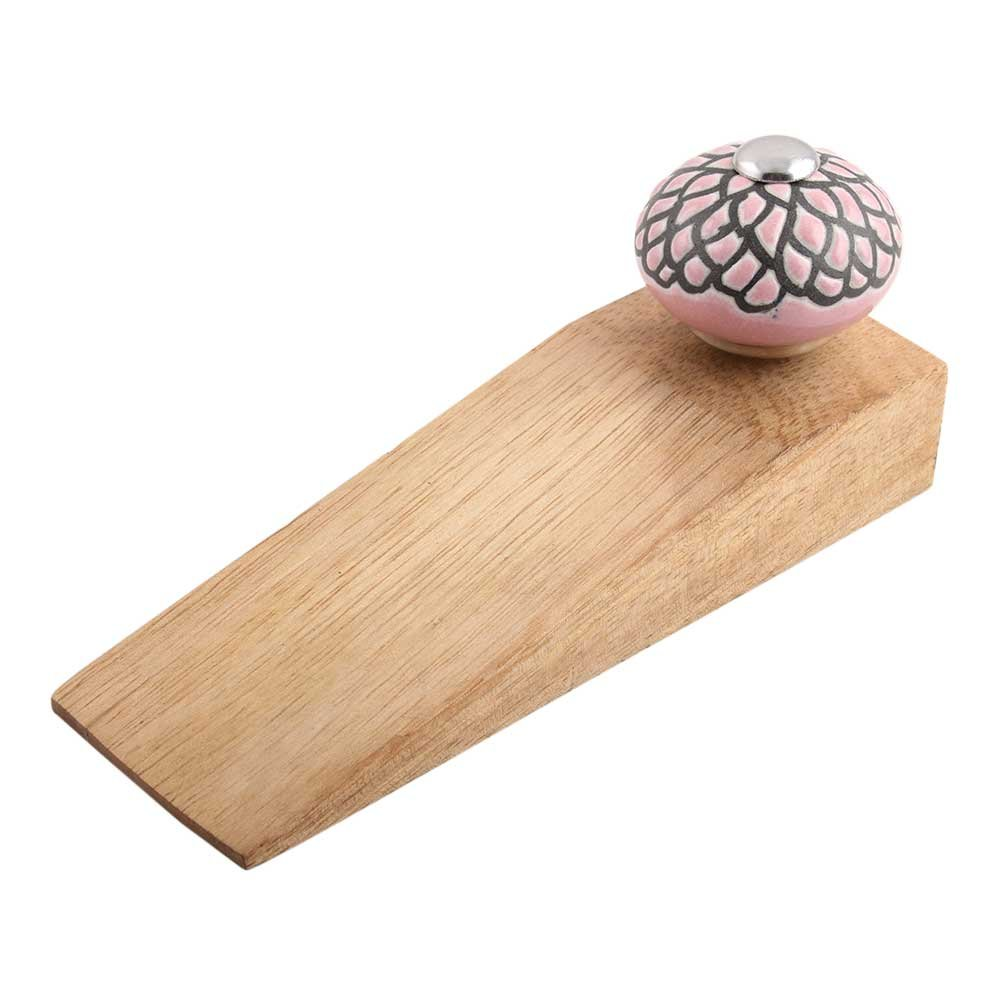 IndianShelf Handmade Pink And Black Etched Wooden Ceramic Door Stoppers Premium Stop Wedge Work On All Floors Non Stretching Strong Grip by Indian Shelf (Image #1)