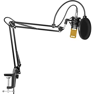 Neewer NW-800 Micrófono Condensador Profesional Estudio y NW-35 Micrófono Grabación Ajustable Suspensión Brazo de Tijera Soporte con Montaje de Choque Abrazadera de Montaje Kit.