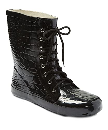 e23337ce1 Forever Young Women 11 quot  Rubber Rain Boots w Black Crocodile Design    Shoelaces