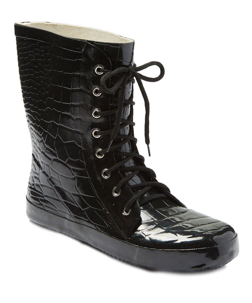 Forever Young Women 11'' Rubber Rain Boots w/Black Crocodile Design & Shoelaces, Size 6