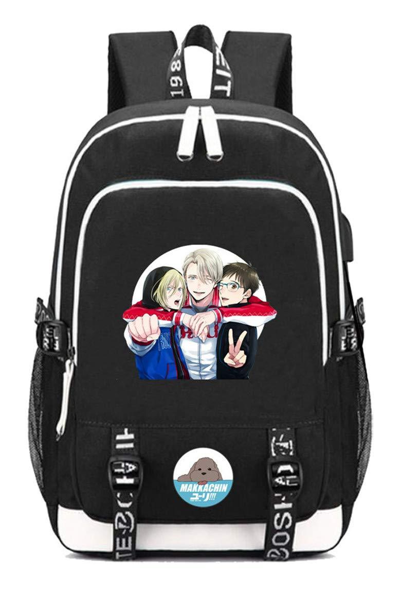 Yuri    on Ice  2 Cosstars Yuri    on ICE Anime Rucksack Schoolbag Laptop Backpack with USB Charging Port and Headphone Jack  7