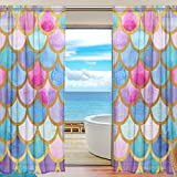 Fish Curtains for Windows SEULIFE Window Sheer Curtain, Ocean Sea Animal Mermaid Fish Scales Voile Curtain Drapes for Door Kitchen Living Room Bedroom 55x78 inches 2 Panels