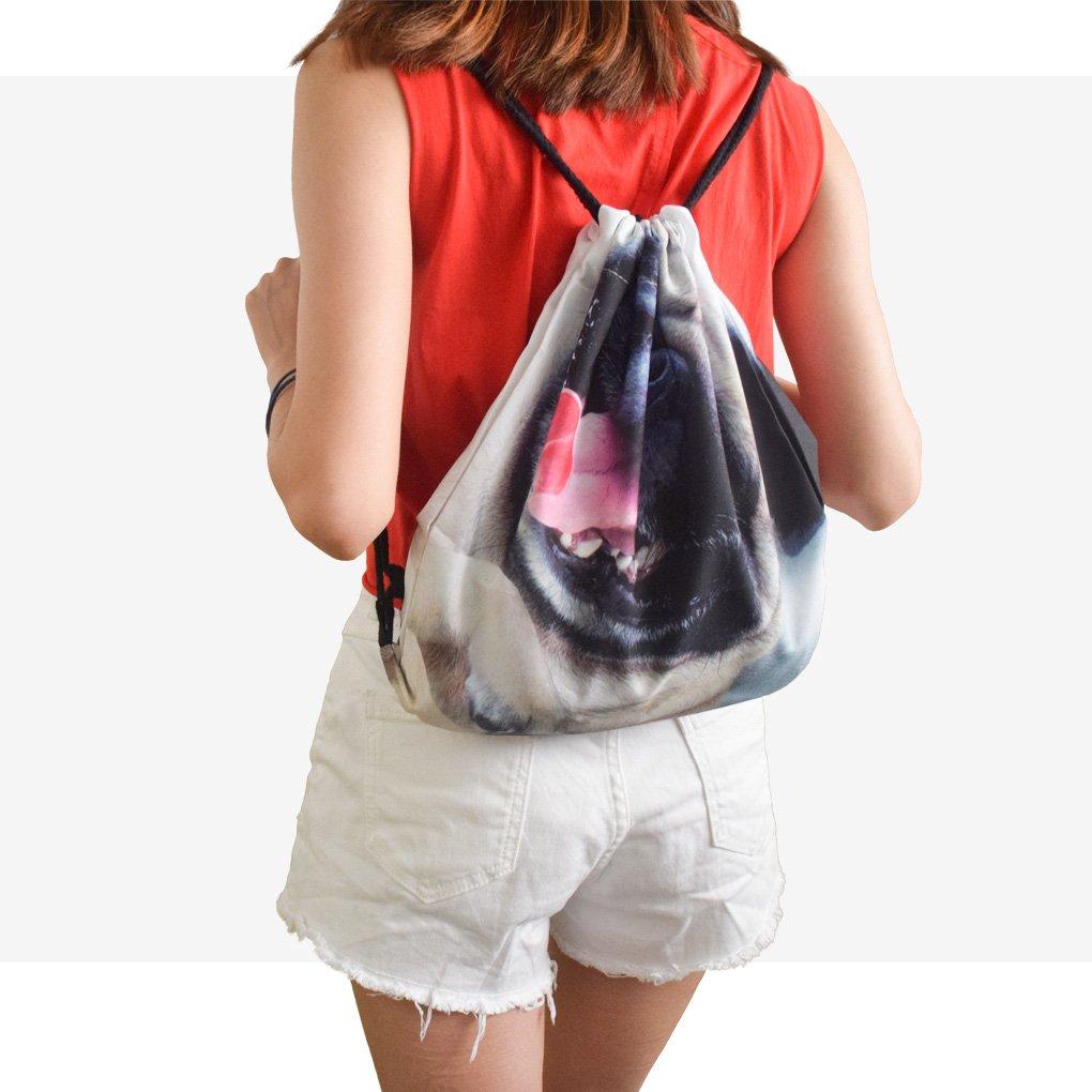 Caszel 3D Cat//Dog Shoulder Drawstring Backpack School Rucksack Teen Yoga Sport Casual Daypack