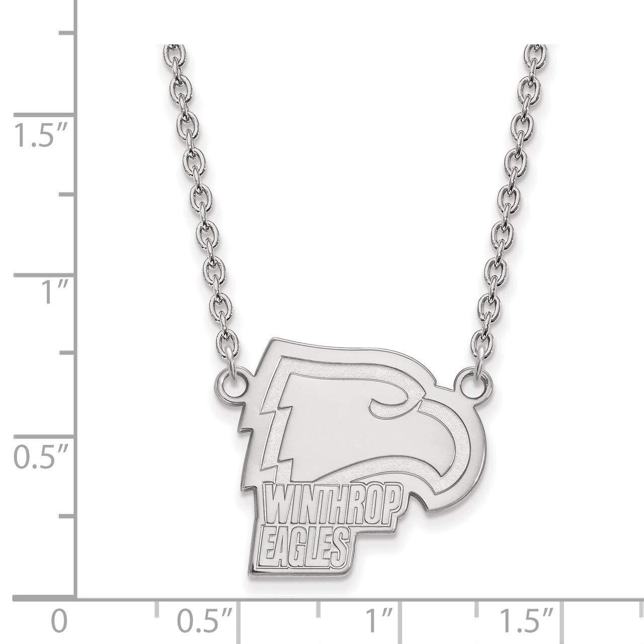 Lex /& Lu LogoArt Sterling Silver Winthrop University Large Pendant w//Necklace