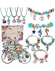 Charm Bracelet Making Kit,Jewellery Making Supplies Beads,Unicorn/Mermaid Crafts Gifts Set for Girls Teens Age 8-12