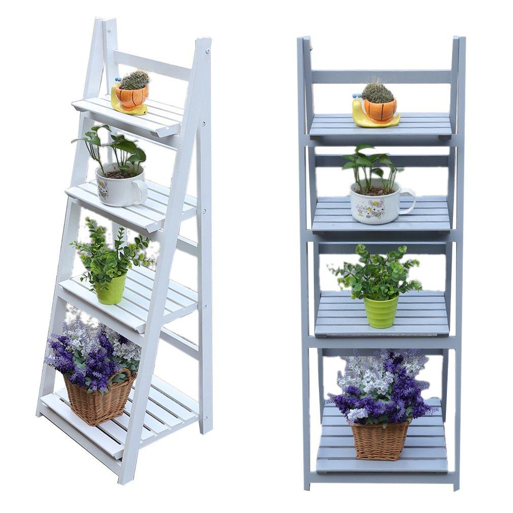 ALTERDJ 4 Tier Wooden Garden Home Flower Balcony Shelf Ladder Display Free Standing Folding Flower Dish Rack plant Stand (White)