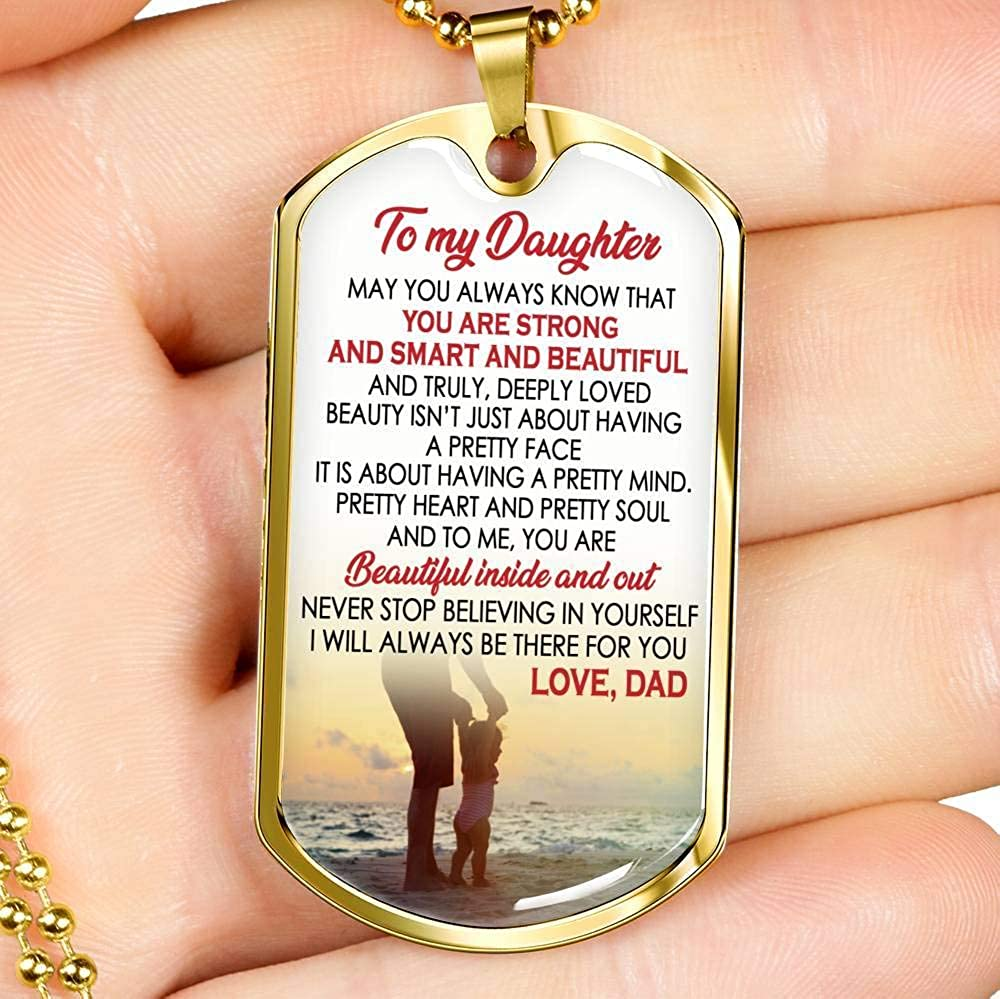Daughter You are Strong Smart Beautiful Quotes Dog Tag Military Ball Chain Birthday Gag Gift for Little Girl Kids Dad ANH Child Pendant Necklace Custom