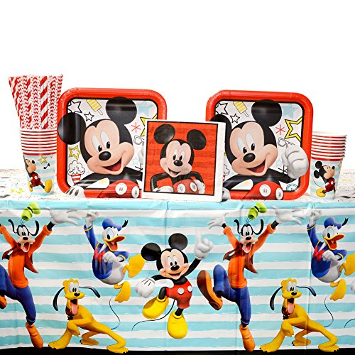 Mickey Mouse On The Go Party Supplies Pack for 16 Guests | Straws, Dinner Plates, Luncheon Napkins, Table Cover, and Cups | Celebrate Your Birthday With Mickey Mouse, Donald Duck, And Goofy!