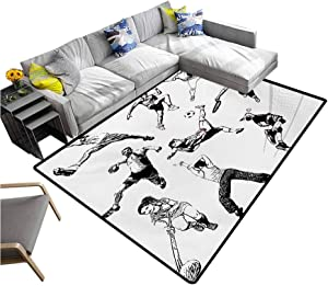 """Sketchy Non Slip Carpet Muscular Energetic Athletes in Different Poses Sports Themed Drawing Style Artwork Indoor/Outdoor Area Rugs Black White (6'6""""x8')"""