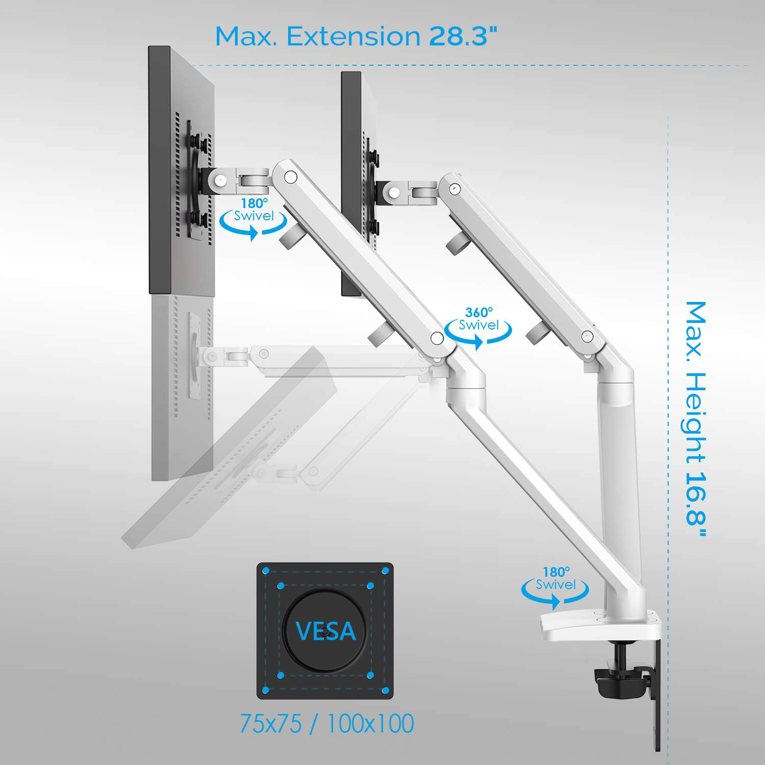 Bemorergo Dual LED LCD Monitor Desk Mount Stand- Aluminum Gas Spring Arm Height Adjustable VESA Bracket 2 in 1 Heavy Duty Fully, fits 2 /Two Screens up to 17 to 32 inches